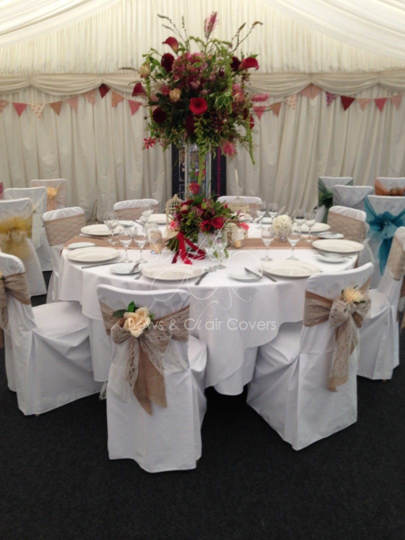 White chair covers with white sash -  White Cotton Chair Covers With Hessiantable Runners Click To Enlarge