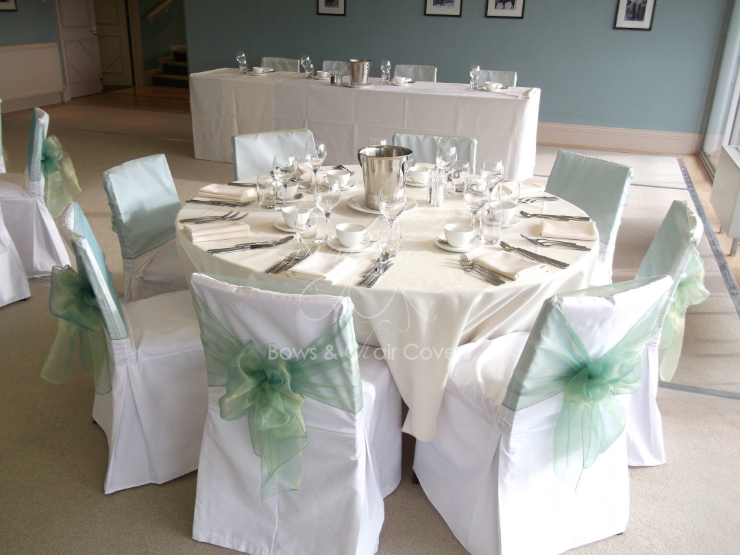 White chair covers with white sash -  Sashes On White Cotton Chair Covers Click To Enlarge