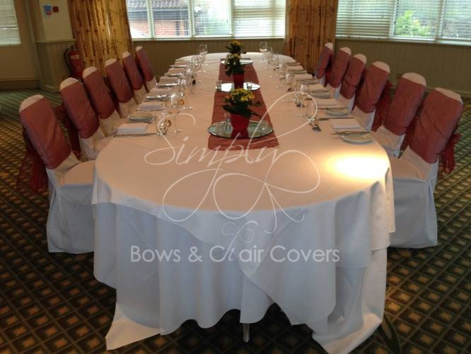 White Cotton Chair Covers With Red Organza Sashes, Matching Table Runners  At The Donnington Valley